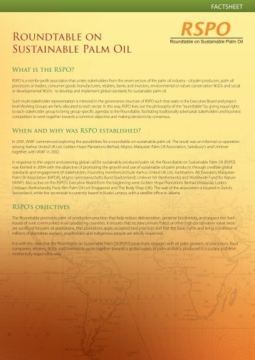 RSPO Fact Sheet - Roundtable on Sustainable Palm Oil
