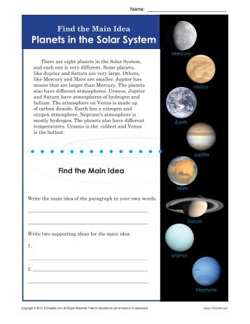 Main Idea Worksheets | Planets in the Solar System