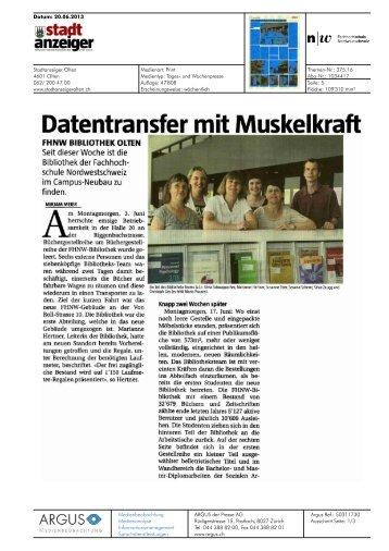 Datentransfer mit Muskelkraft - Fachhochschule Nordwestschweiz