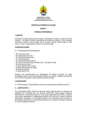 PREGÃO ELETRÔNICO Nº 02/2009 ANEXO I TERMO DE ... - Funai