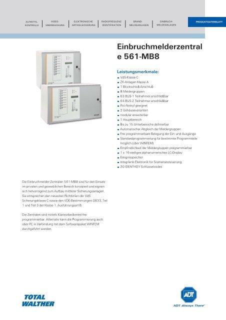 Einbruchmelderzentrale 561-MB8 - ADT Europe Branded Datasheet
