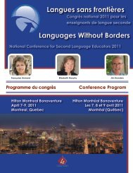Languages without borders - Canadian Association of Second ...
