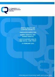 Downe Dementia Unit, Downe Hospital - Regulation and Quality ...