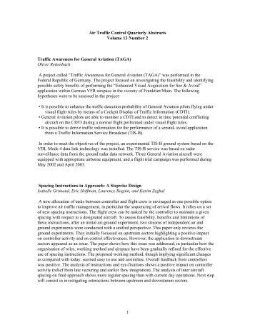 Abstracts 13-2 - Air Traffic Control Association