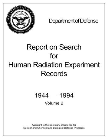 DoD Report on Search for Human Radiation Experiment Records ...