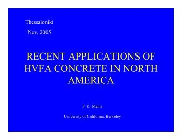 recent applications of hvfa concrete in north america - University of ...