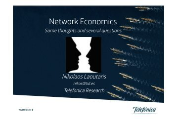 Network Economics: Some thoughts and several questions - Caida