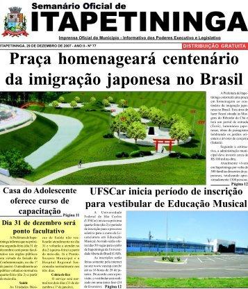 Praça homenageará centenário da imigração japonesa no Brasil
