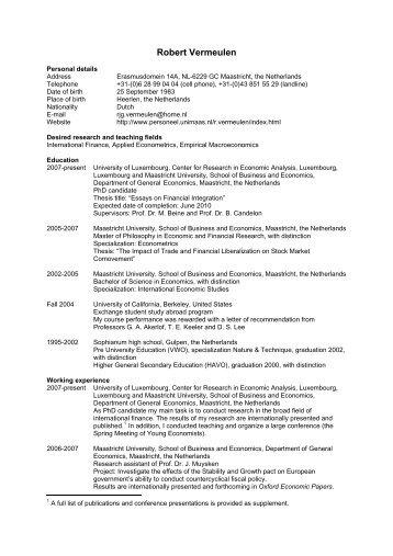 Curriculum Vitae Robert Vermeulen - Maastricht University