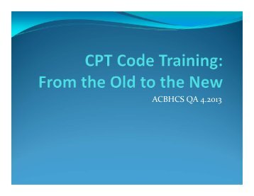 ACBHCS QA 4.2013 - Alameda County Behavioral Health