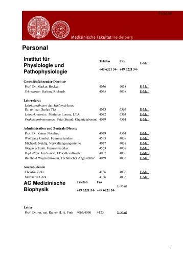 Medizinische Fakultät Heidelberg: Personal