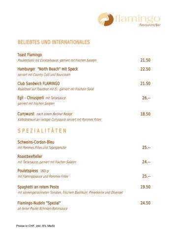beliebtes und internationales spezialit ä ten - Restaurant flamingo