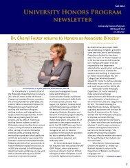 Honors Student Advisory Board Winter Newsletter - University of ...