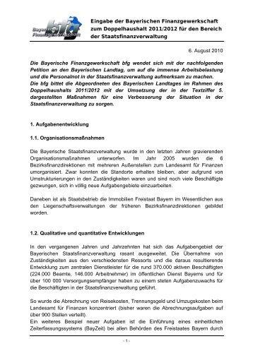 Eingabe bfg - Doppelhaushalt 2011/2012 - Bayerische ...