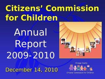 Discussion Citizen's Commission for Children Annual Report 2009 ...