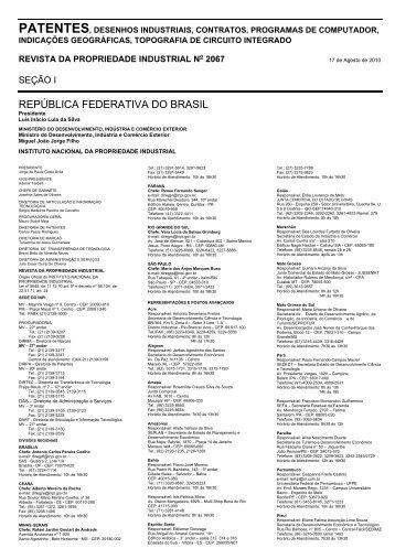 REPÚBLICA FEDERATIVA DO BRASIL - Revista RPI - Inpi