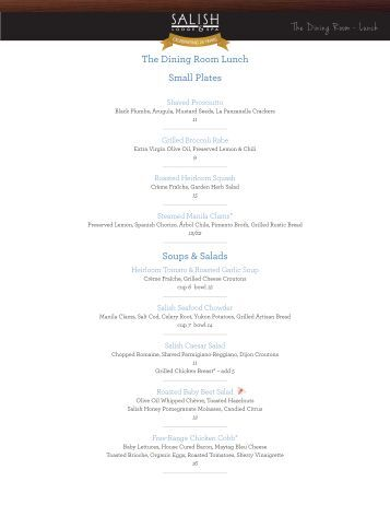 the dining room dinner menu - salish lodge & spa