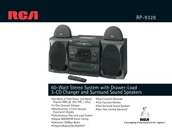 60-Watt Stereo System with Drawer-Load 3-CD Changer and ...