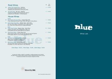 Rosé Wines House Wines - Blue Bar