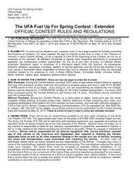 See complete contest details, rules and regulations - UFA.com