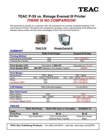 TEAC P-55 vs. Rimage Everest III Printer THERE IS NO ... - Solstice