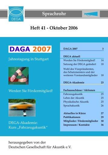 Sprachrohr 41 - Deutsche Gesellschaft für Akustik eV