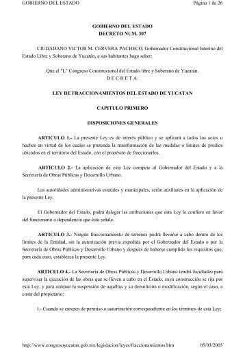 Ley de Fraccionamientos del Estado de Yucatán - docs.mexico.justi...
