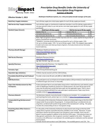 Prescription Drug Benefits Under the University of Arkansas ...