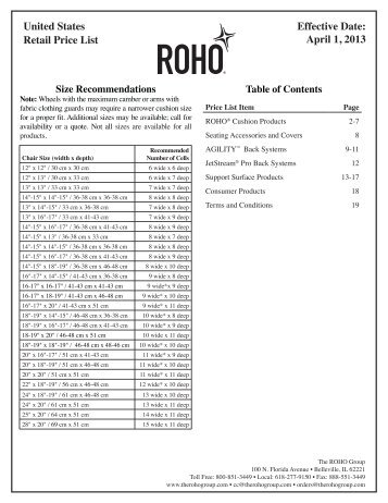 United States Retail Price List Effective Date ... - The ROHO Group