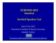 EUROMS-2012 Istanbul I it d S k Li t Invited Speaker List - Isope