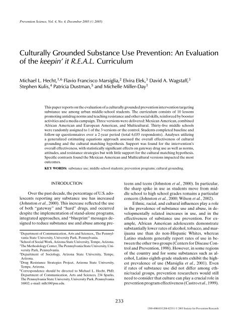 Culturally Grounded Substance Use Prevention: An ... - ResearchGate