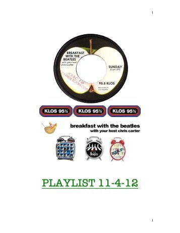 KLOS Nov.4th 2012 - Breakfast With The Beatles