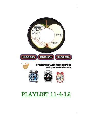 KLOS Nov.4th 2012 - Breakfast With The Beatles