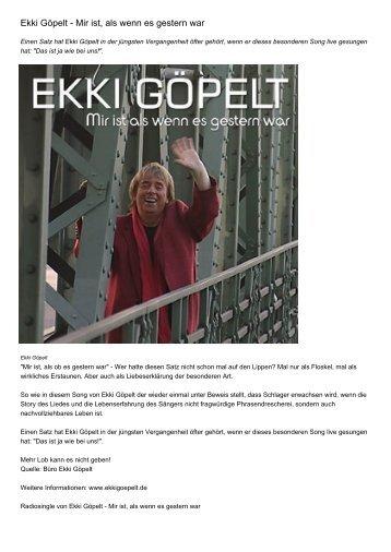 Ekki Göpelt - Mir ist, als wenn es gestern war