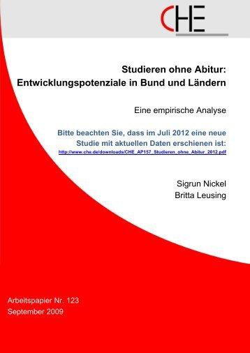 Studieren ohne Abitur - Centrum für Hochschulentwicklung