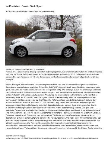 Im Praxistest: Suzuki Swift Sport