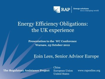 Energy Efficiency Obligations: the UK experience