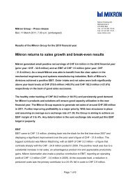 Mikron returns to sales growth and break-even results