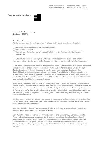 Fachhochschule Vorarlberg - (cocean.creato.at) - onlinegroup.at