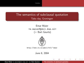 The semantics of subclausal quotation - Tabu day, Groningen