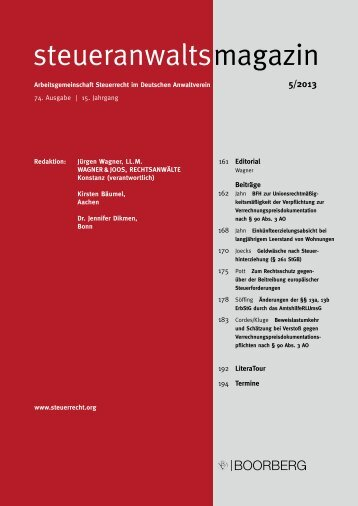 Ausgabe 05/2013 - Wagner-Joos Rechtsanwälte