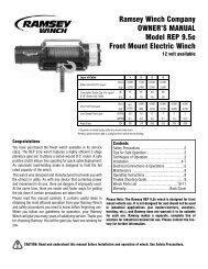 Ramsey Winch Company OWNER'S MANUAL Model REP 9.5e ...