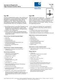 Hochdruck-Regelventil Typ 390 - Daume Regelarmaturen Gmbh
