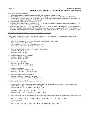 Balancing Redox Equations WorkSheet Oxidation Number Method ...