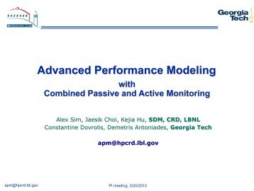 Advanced Performance Modeling - Scientific Data Management Group