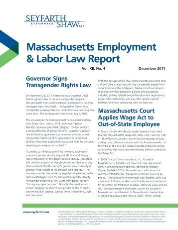 Massachusetts Employment & Labor Law Report - Seyfarth Shaw LLP