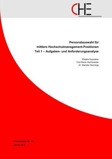 Personalauswahl für mittlere ... - Centrum für Hochschulentwicklung