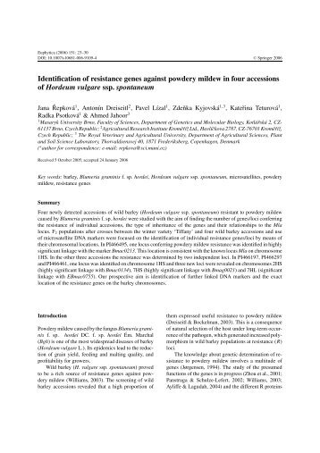 Identification of resistance genes against powdery mildew in four ...