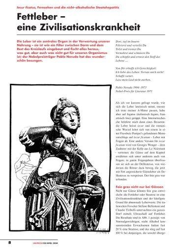 Fettleber – eine Zivilisationskrankheit (pdf, 256KB) - Universität Bern