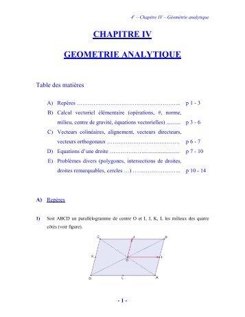 CHAPITRE IV GEOMETRIE ANALYTIQUE